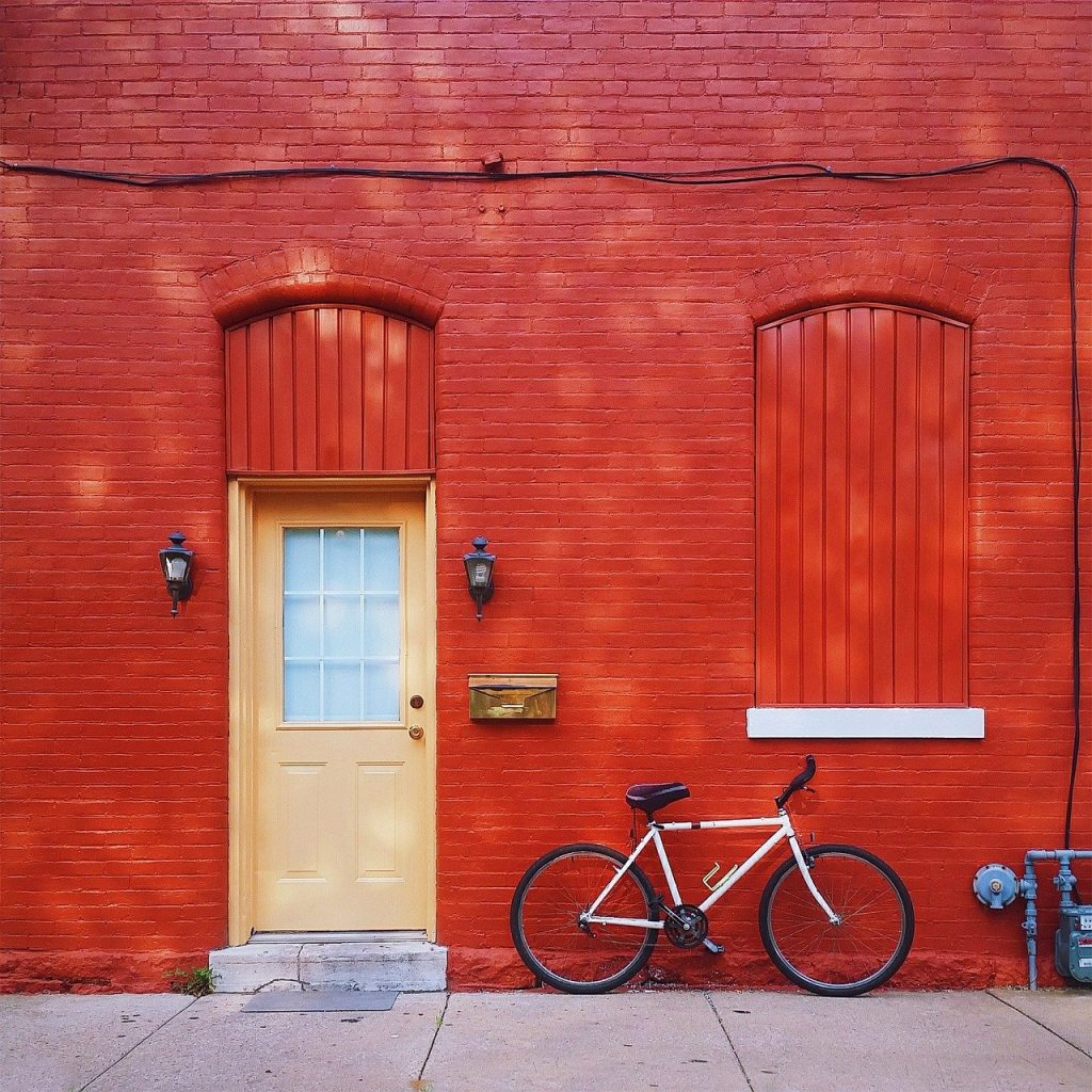 red, house, home